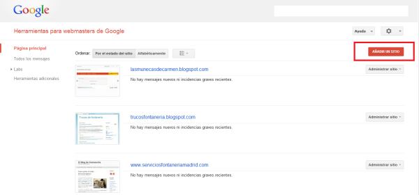 Cómo añadir sitio en Google Webmaster Tool