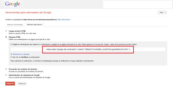 Cómo insertar código de Google Webmaster Tools